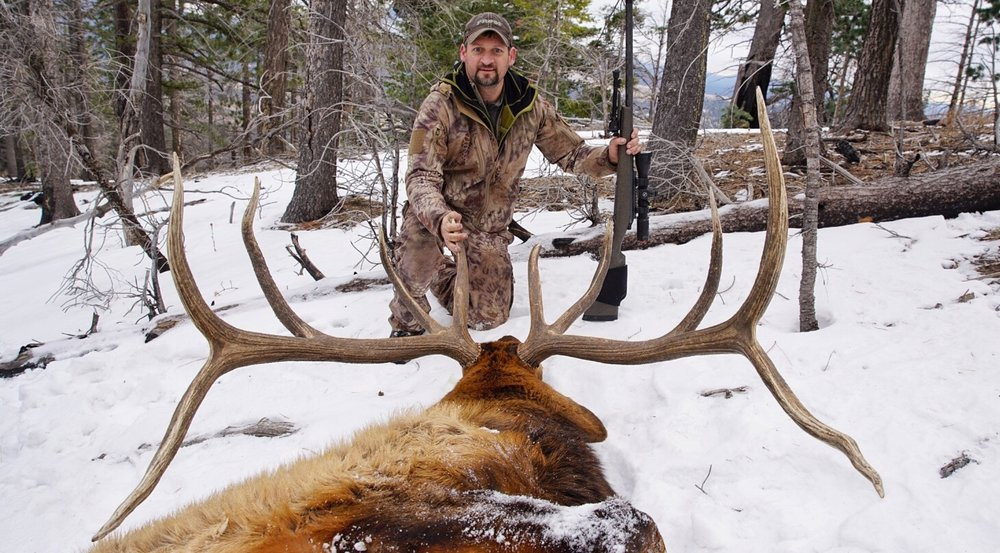 Cody Voermans with one of many huge elk he's taken over the years.