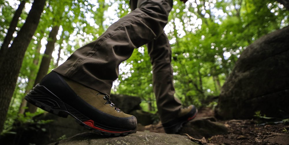 The Mountain Hunter series boot features a midsole that seems to propell you forward as you walk.