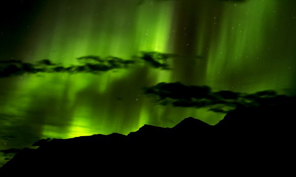 Northern lights over the spine of the Mackenzies