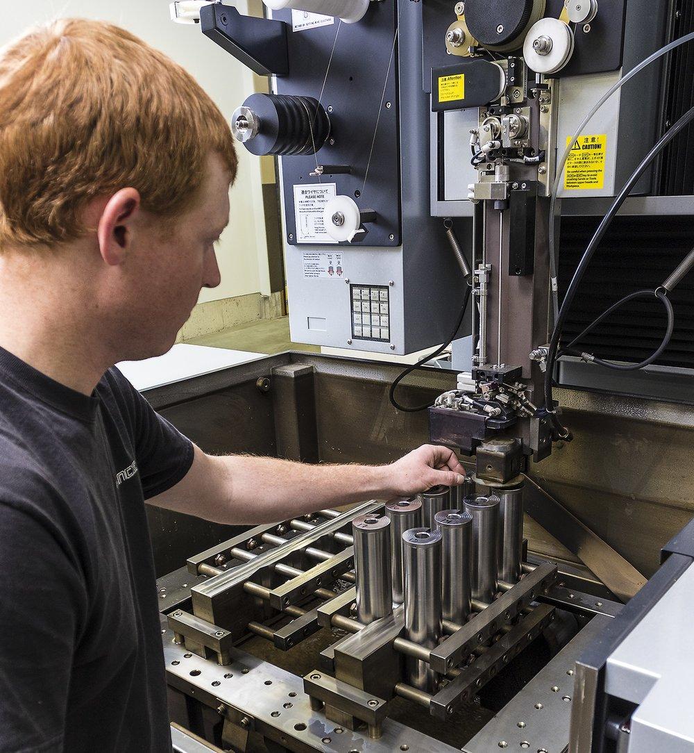 Preparing to cut lugways with a wire EDM