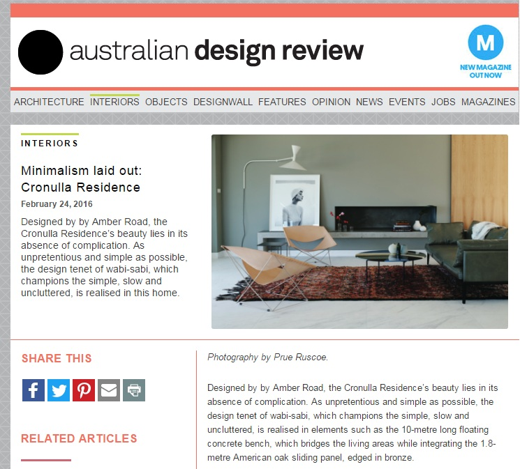 FEB 2016  | AUSTRALIAN DESIGN REVIEW - CRONULLA RESIDENCE