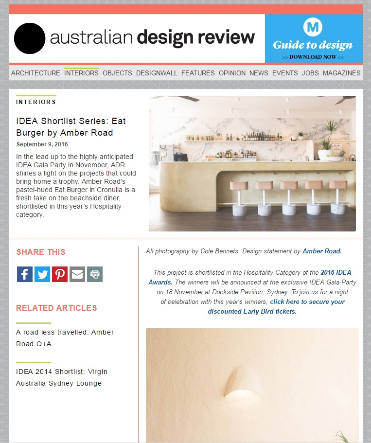 SEPTEMBER 2016 | AUST. DESIGN REVIEW - EAT BURGER