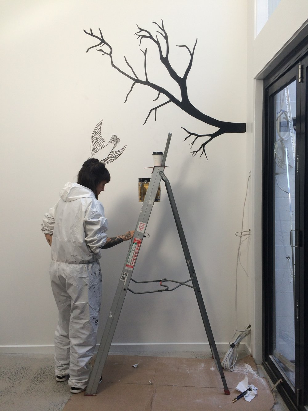 CUSTOM MURAL by Tessa McDonnell| Deatil of artist in action
