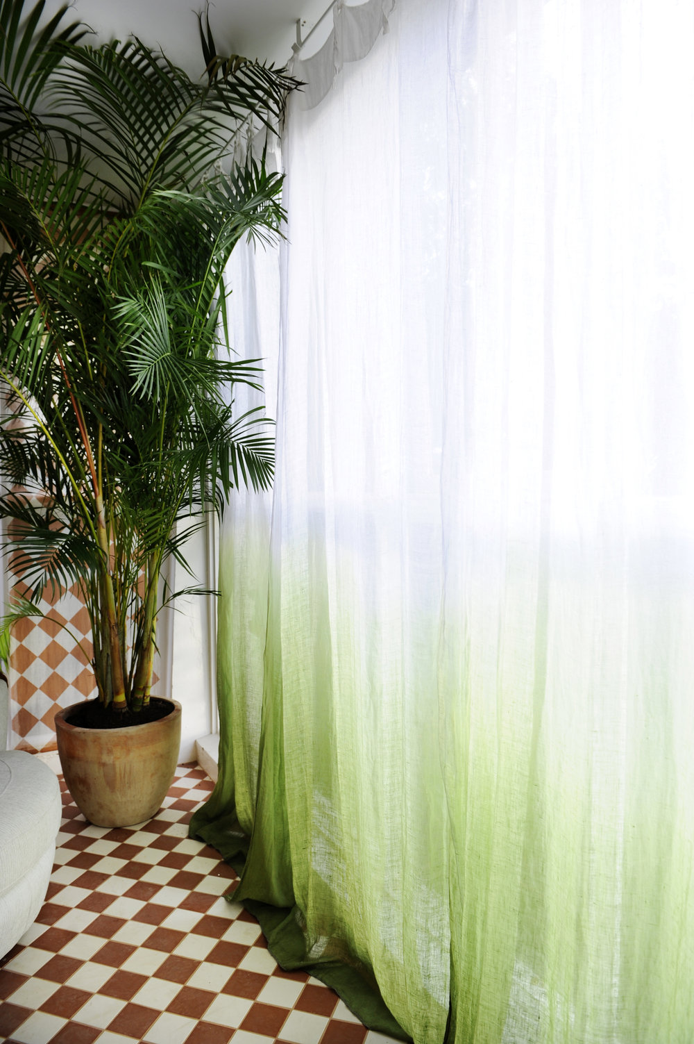 DETAIL of CUSTOM CURTAINS | Ombre treatment to Hale Mercantile curtains by artist Steven Vella