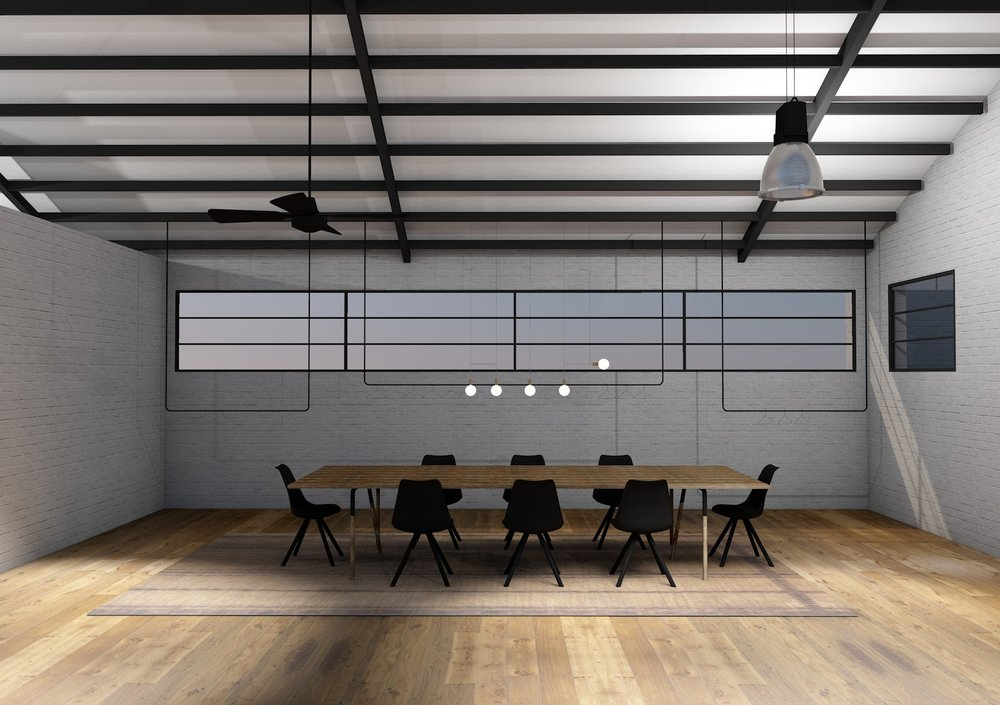 Conceptual rendering of meeting space with custom hanging rails for clothing display beyond