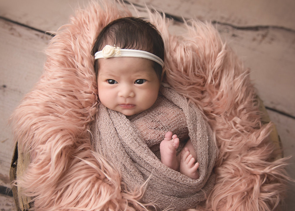 Baby newborn girl wide away wrapped in pink during newborn posed photo session in winnipeg