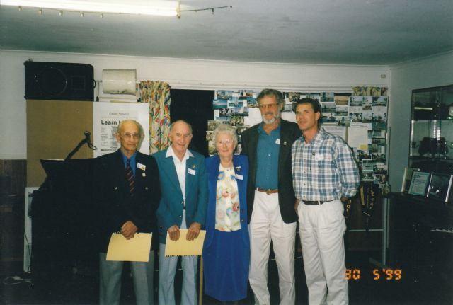 Life Members of the Maroochy Sailing Club - 40th JUbilee, 1999                                     Charlie Smith, Noel Etherton, Shirley McDonald, Fred DownEs, Keith Campbell