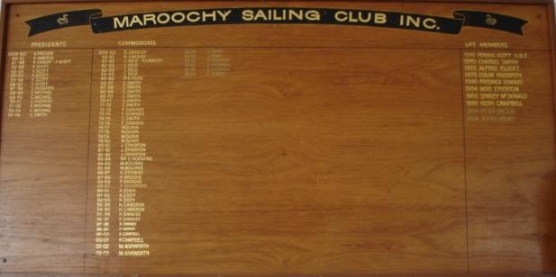 MAROOCHY SAILING CLUB HONOUR BOARD 2009