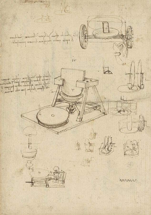 Polishing machine formed by two-wheeled carriage,  Atlantic Codex, Leonardo da Vinci.