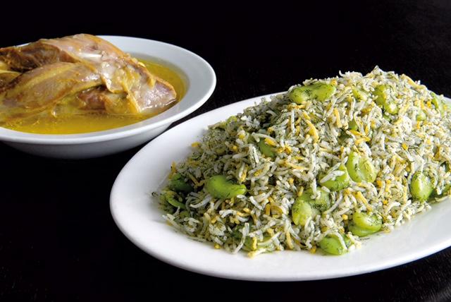 Baghali Polo Ba Mahicheh ( Rice, Fava Beans, Lamb Shank )