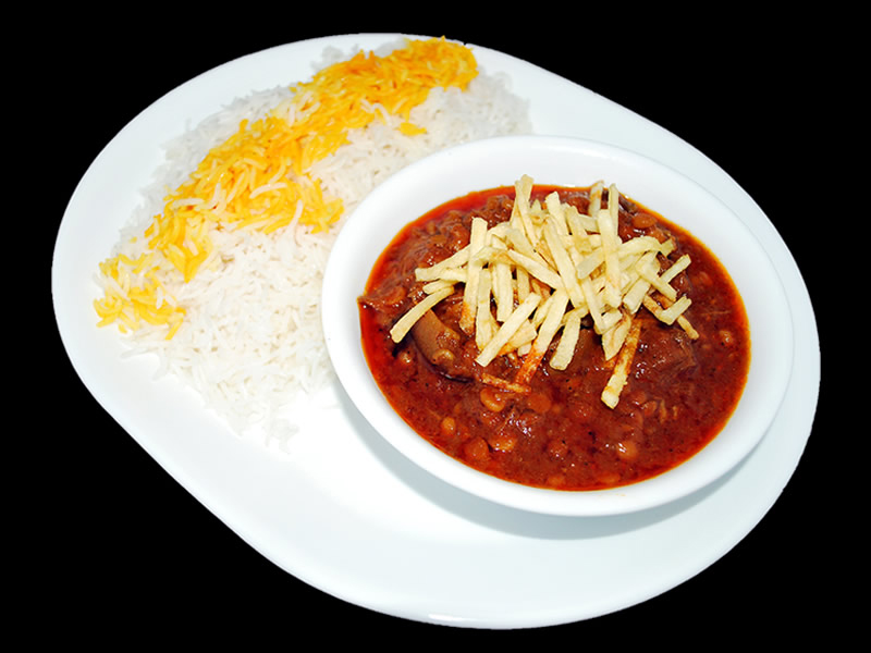Gheymeh ( Yellow Split Peas, Tomato, Saffron, Fries with Meat )