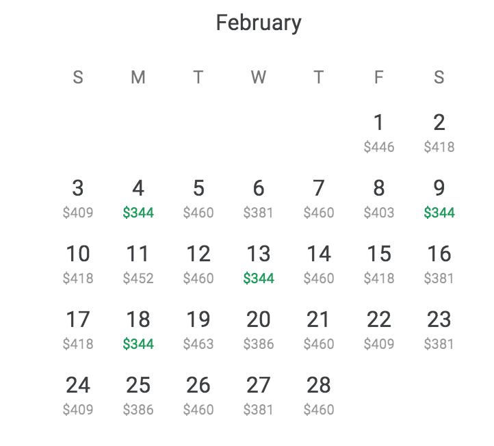 The Google Flights calendar option has made everything easier.