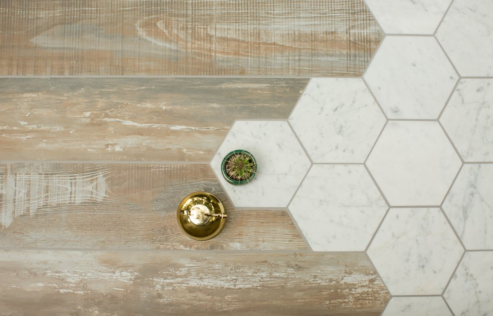 Wood Look Tile and Hexagons