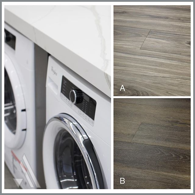 Treat yourself to an updated laundry room with gorgeous luxury vinyl plank floors! Since these planks from @hallmarkfloors' Courtier Collection are waterproof, they're a perfectly functional addition to any space where water could be an issue. The hardest part is picking your favorite color! Option A is a beautiful eucalyptus-look called 'Regent' and Option B is a classic dark oak-look called 'Paladian'. Comment your favorite down below!  _________________________________  #arcadiapdx #makehomeyours #laundryroom #laundryroommakeover #quartzcountertops #cabinetdesign #paintedcabinets #newfloors #flooring #luxuryvinyl #luxuryvinylplank #hallmarkfloors #contemporarykitchen #modernkitchen #remodel #homeimprovement #designerlife #interiorinspo #interiordesignblog #gooddesign #interiorgoals #ABMathome #apartmenttherapy #bhghome #interiorandhome #womeninbiz #womeninbusiness #pdxliving #portlanddesign #heymob