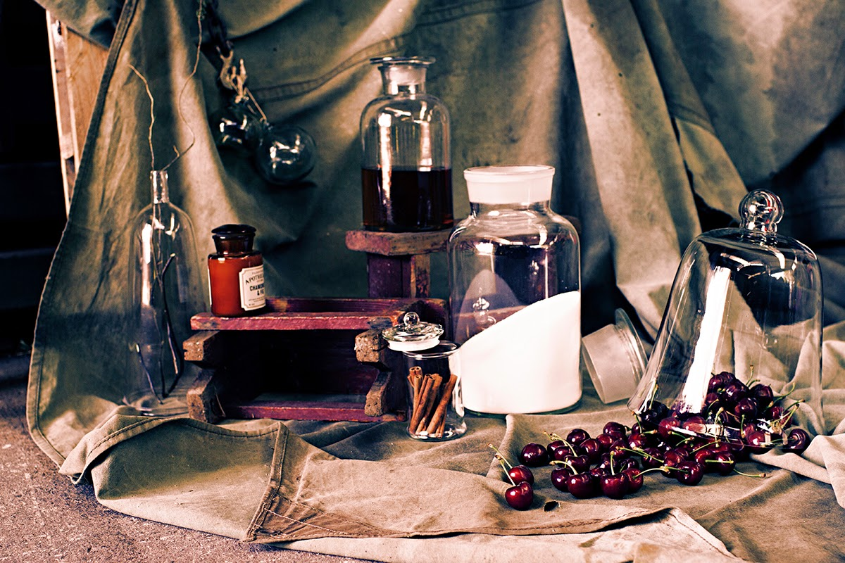 food, drinks and still life photography #CherryLiqueur #BrandyAndCherryMarriage #LabGlassJars #SophiaTerraZiva