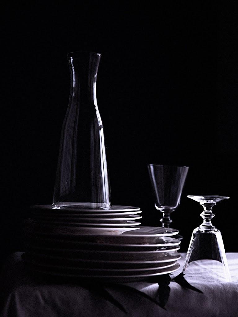 still life photography #OdetteAndOdile #BallAtTheSwanLakeCastle #TableSet #Plates #WineGlasses #Decanter #Glassware #SophiaTerraZiva