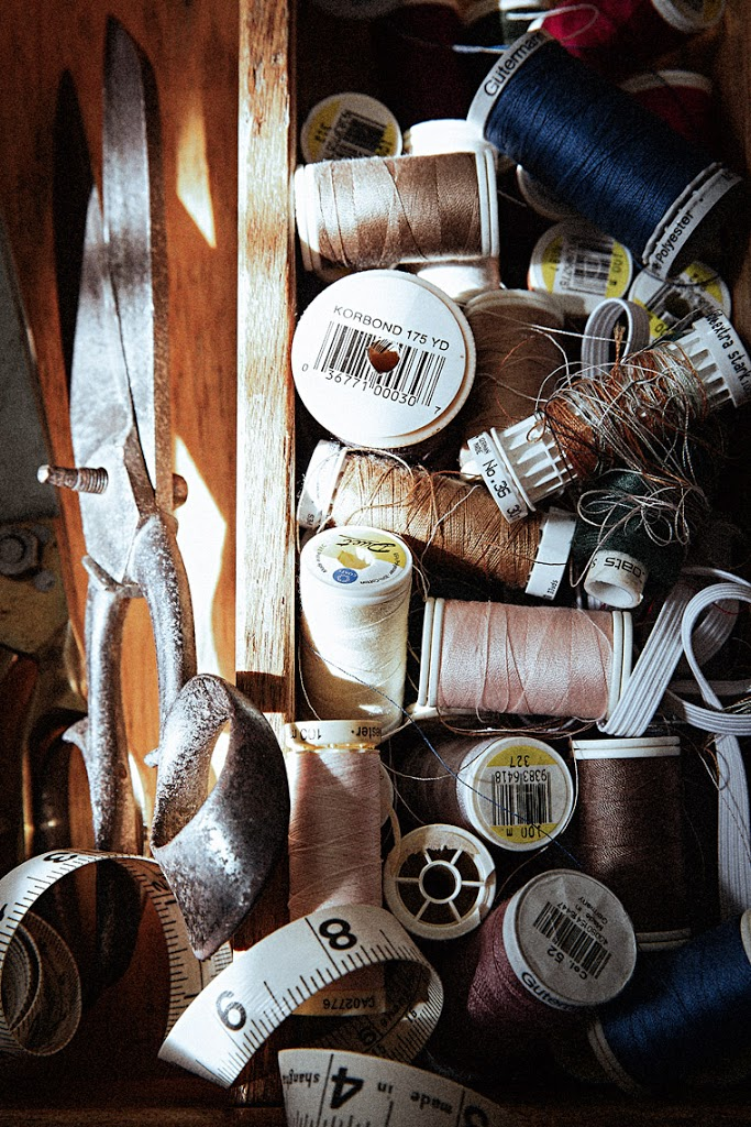 still life photography #SeamstressTreasureBox #SpinsterDowry #ThreadSpools #Bobbins #Scissors #MeasureTape #SophiaTerraZiva