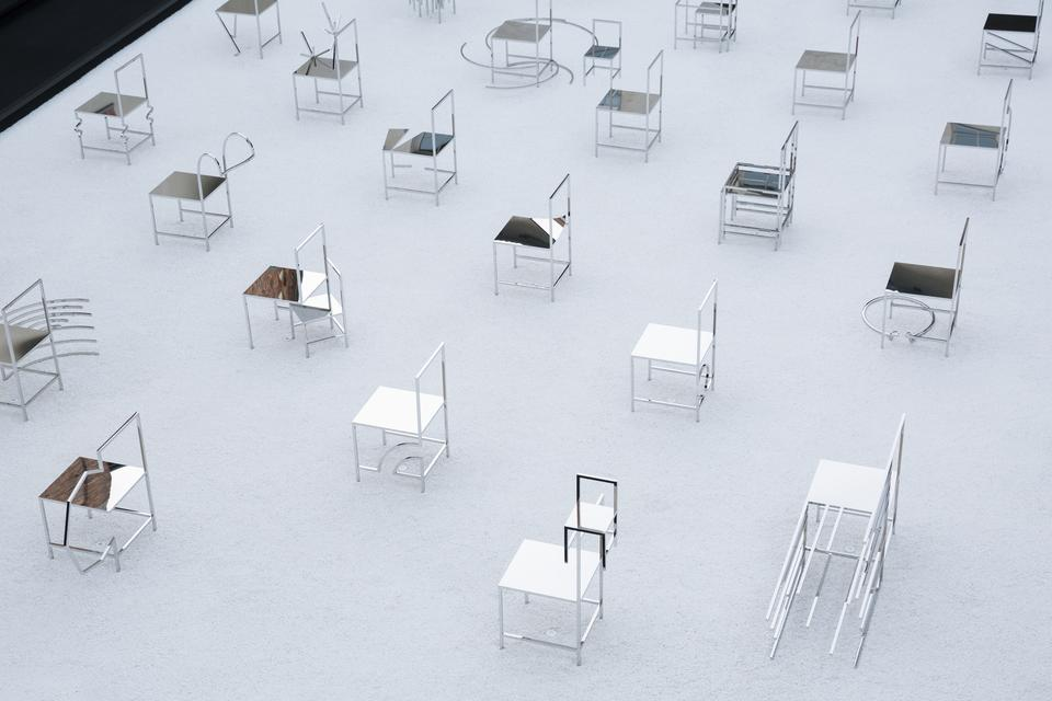 50 Manga chairs installation by Nendo for Friedman Benda 2.jpg