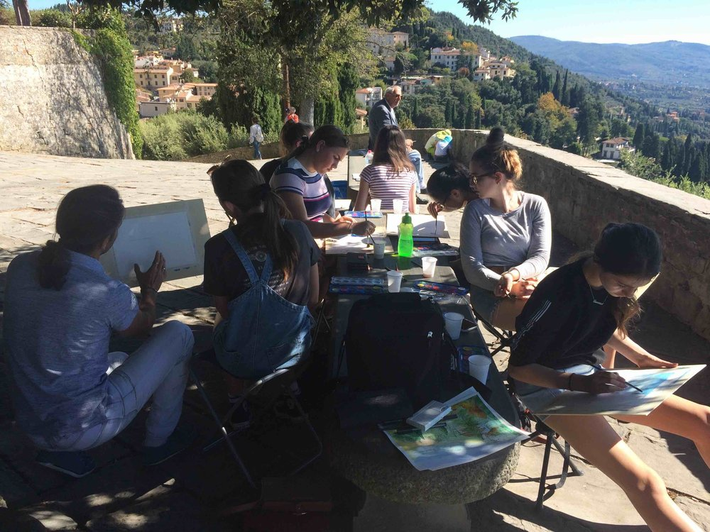 Plein Air sketching and painting class, Fiesole