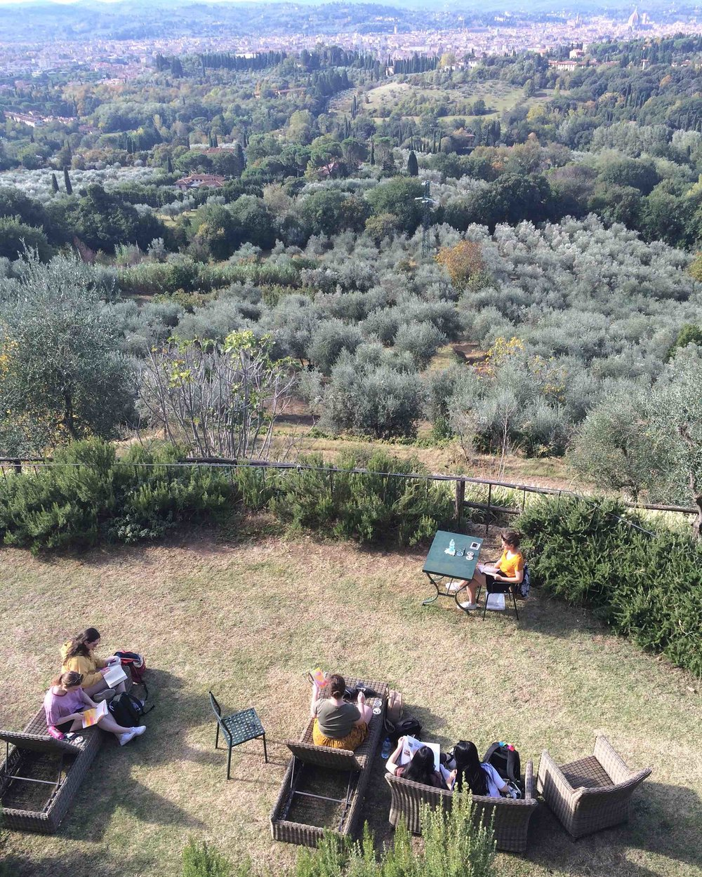 Plein Air painting and drawing at Pensione Bencista overlooking Florence