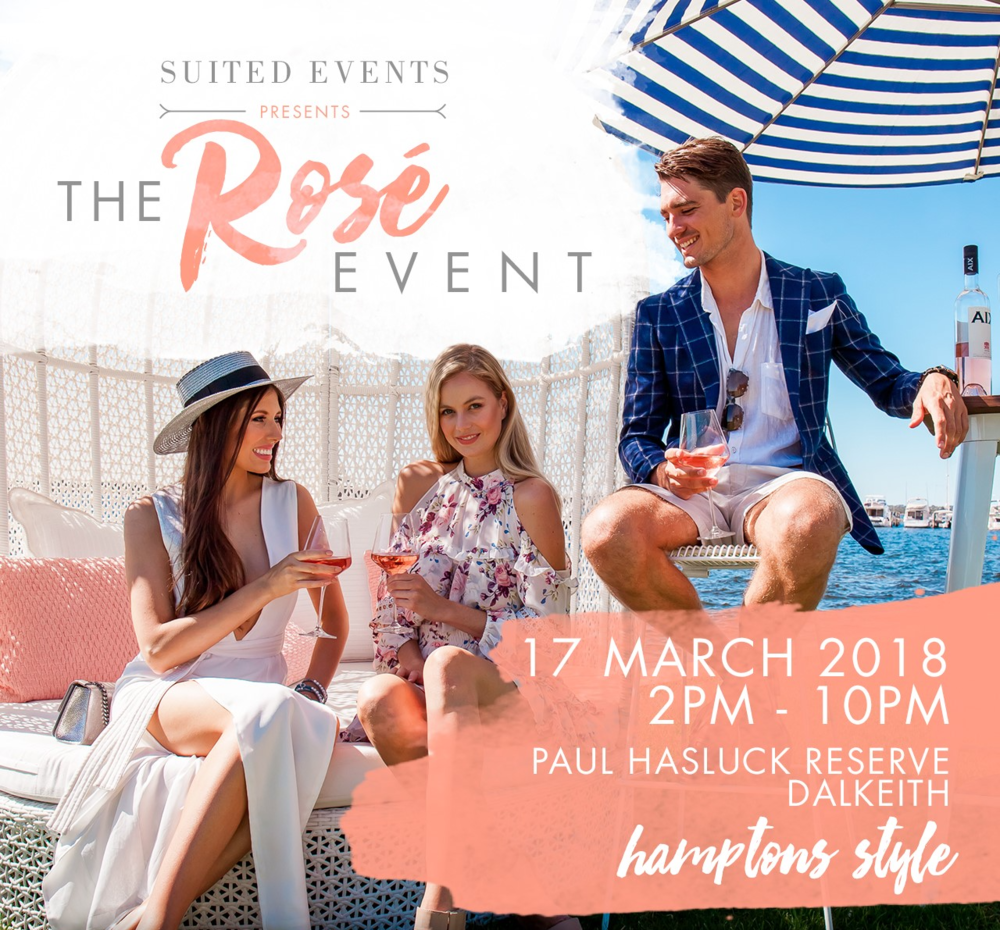 Suited - The Rosé Event 18 - Suited - The Rosé Event IS BACK taking over the Dalkeith Foreshore on March 17 for the finest Hamptons style soirée Perth has ever seen.Guests will indulge in award winning rosé along the rivers edge as they are treated to a premium selection of local and international rosé, south west breweries and cocktails, accompanied by gourmet food stalls, freshly shucked oysters, fashion and entertainment set to light up into the evening.Tickets on sale now via Ticketbooth: https://events.ticketbooth.com.au/event/suited-the-rose-event