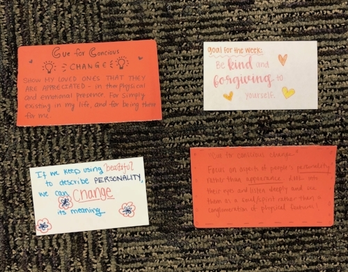 """Our """"Cues for Conscious Change"""" activity - visualizing our goals and intentions for the upcoming week!"""