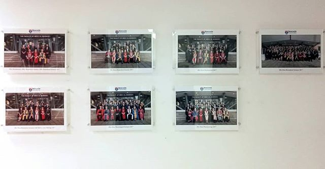 Nice to see our group images from 2017 congregations displayed in the reception area of Biomedical Sciences in Newcastle University. We think they look great #eventphotographer #Newcastle #graduation