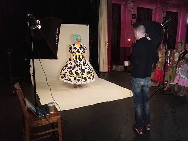Behind the scenes at today's promo shoot with the cast of Jack and the Beanstalk at Civic Hall Stanley