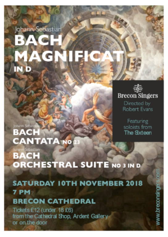Bach Magnificat Concert - Saturday 10 Nov 2018Tickets on sale nowReserve your seat nowclick belowbreconsingerstickets@gmail.com