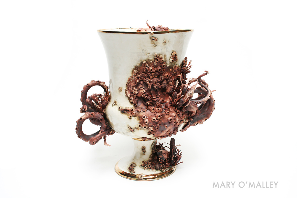 Bottom Feeder Campana Vase, 2014,  H30 x W25 x D15cm, Thrown and Handbuilt Porcelain, Oxide, Glaze, 22kt Gold
