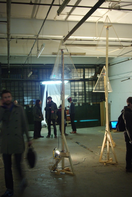 Elevated Illuminated Pyramids , installation shot at Pause and Effect 2 curated by RART, Dalston Space, London, 2009.