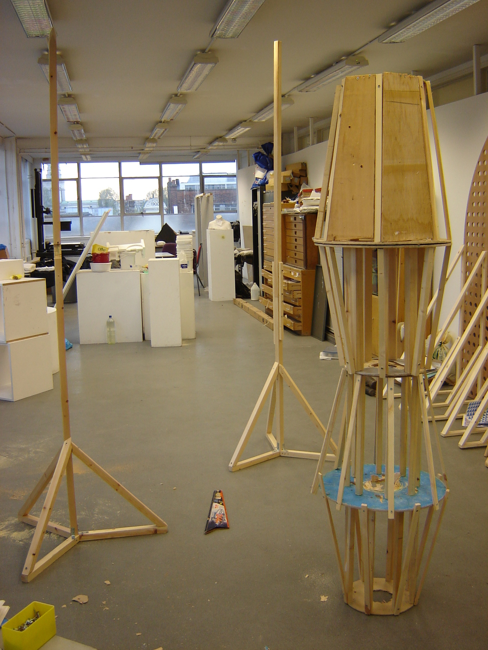The Two Beacons  in construction, Sir John School of Art Studios, Adam Watts, 2010