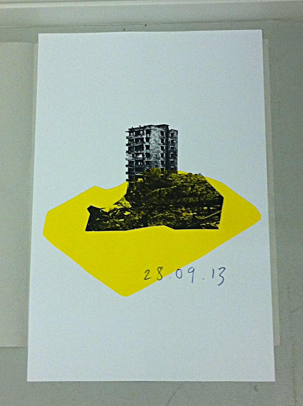 pour swirl mix apply turn print repeat      Derelict Site , 3 colour screenprint, Adam Watts, 2013.
