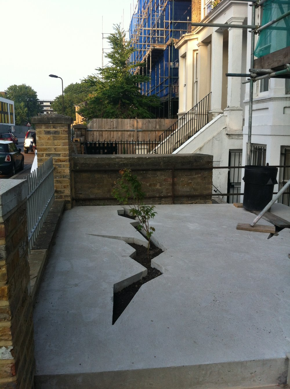 Photograph of  a front garden in East London.