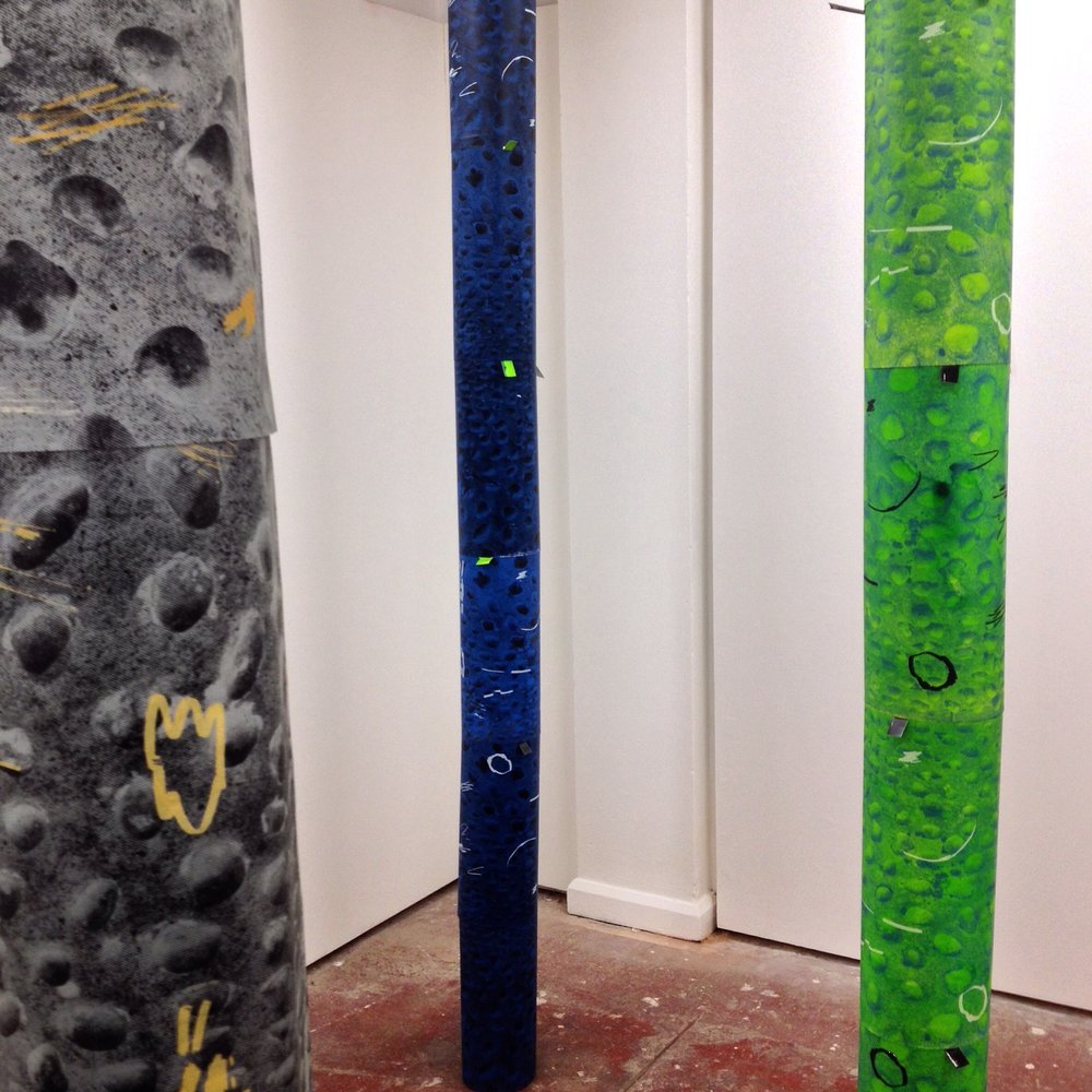 Rough Boundaries, BackRoom Gallery, Peckham 2016.  Pillars, collaborative work Alex Edwards & Adam Watts