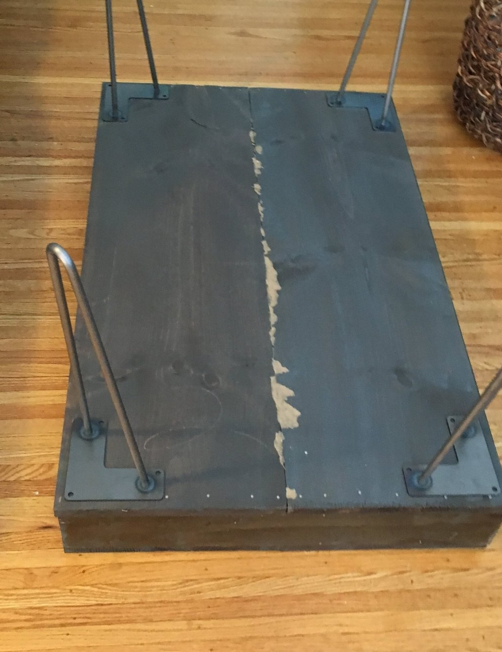 how to attach legs to a west elm inspired diy mid century coffee table