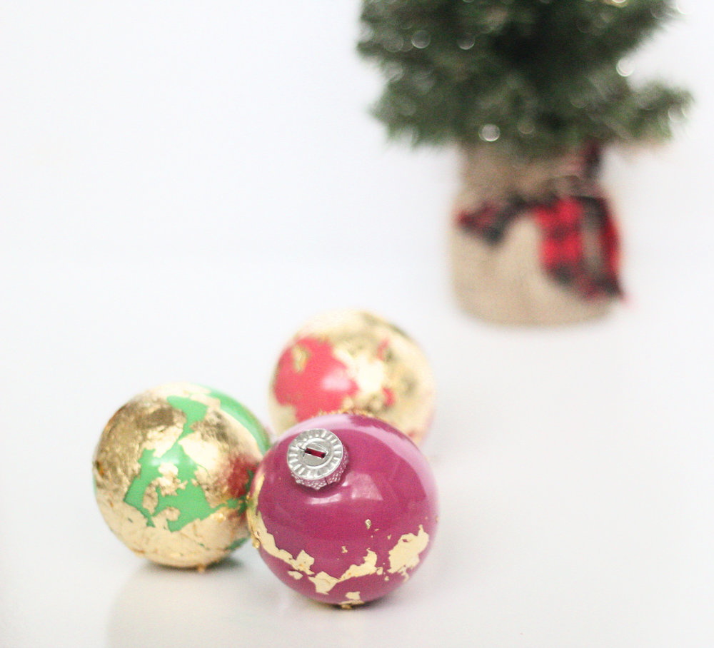 gold leaf ornaments diy