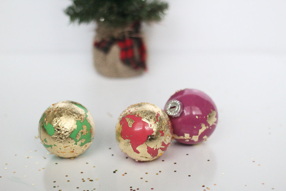 DIY abstract holiday ornaments