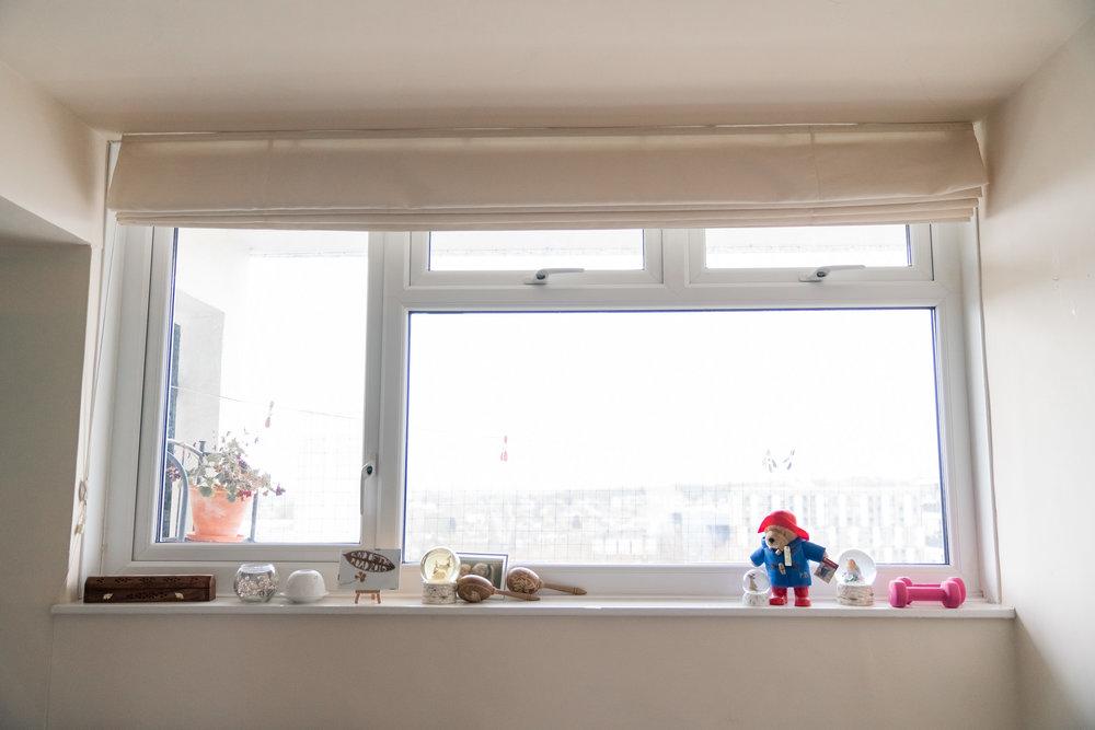 One large bedroom window.