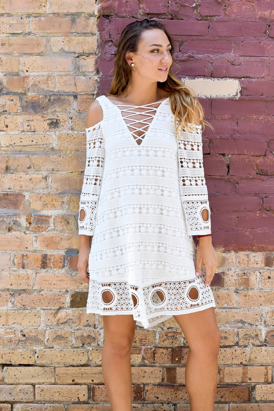 Crochet Cold Shoulder Dress