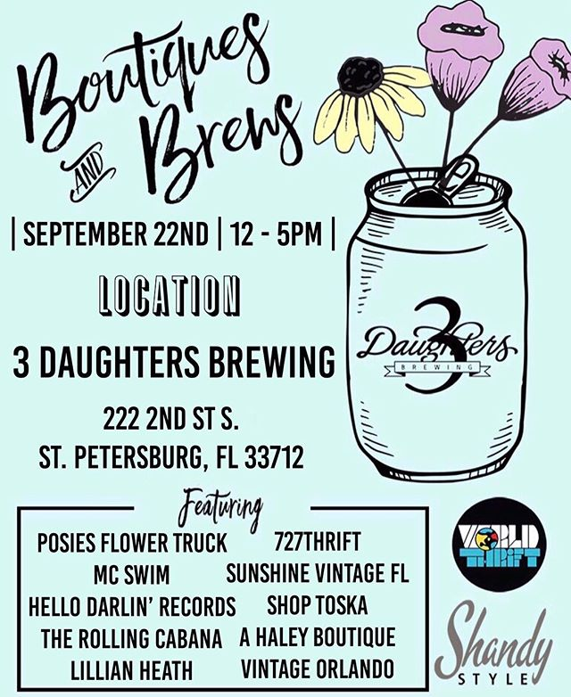 ✨Tomorrow✨ our Fall/Winter Boutiques and Brews series begins! Join us from 12 to 5 at 3 Daughters to enjoy a cold brew while shopping all your favorite local boutiques and makers 💃🏼🍻 |follow @boutiquesandbrews to receive 20% off your purchase from our tent at the market|