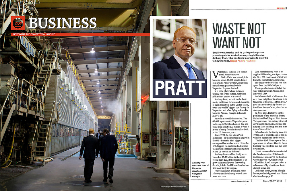 Australia's leading business magazine, Business Review Weekly, planned a cover story on Anthony Pratt, Chairman and CEO of Pratt Industries, a long-time WaveGuide Studios client.  Pratt asked us to handle the location photo assignment instead of their usual stable of still photographers, because they felt the WaveGuide Studios team could create images that would capture the essence of Pratt and his company.