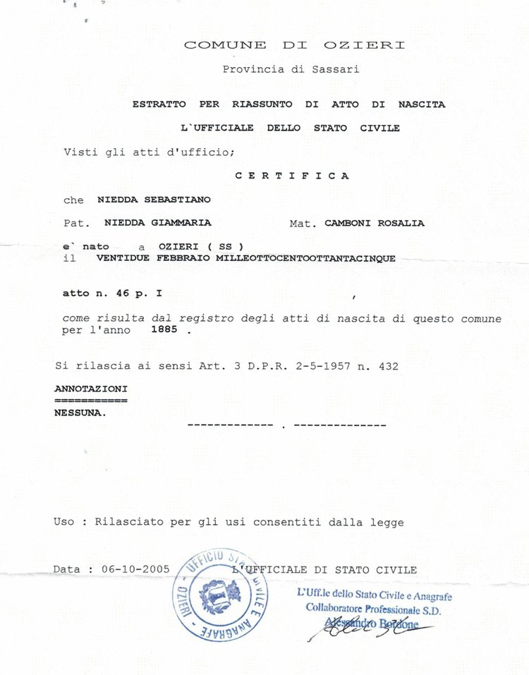 Our 1800\'s Family Tree & Italian Birth Certificates — THE NIEDDA FAMILY