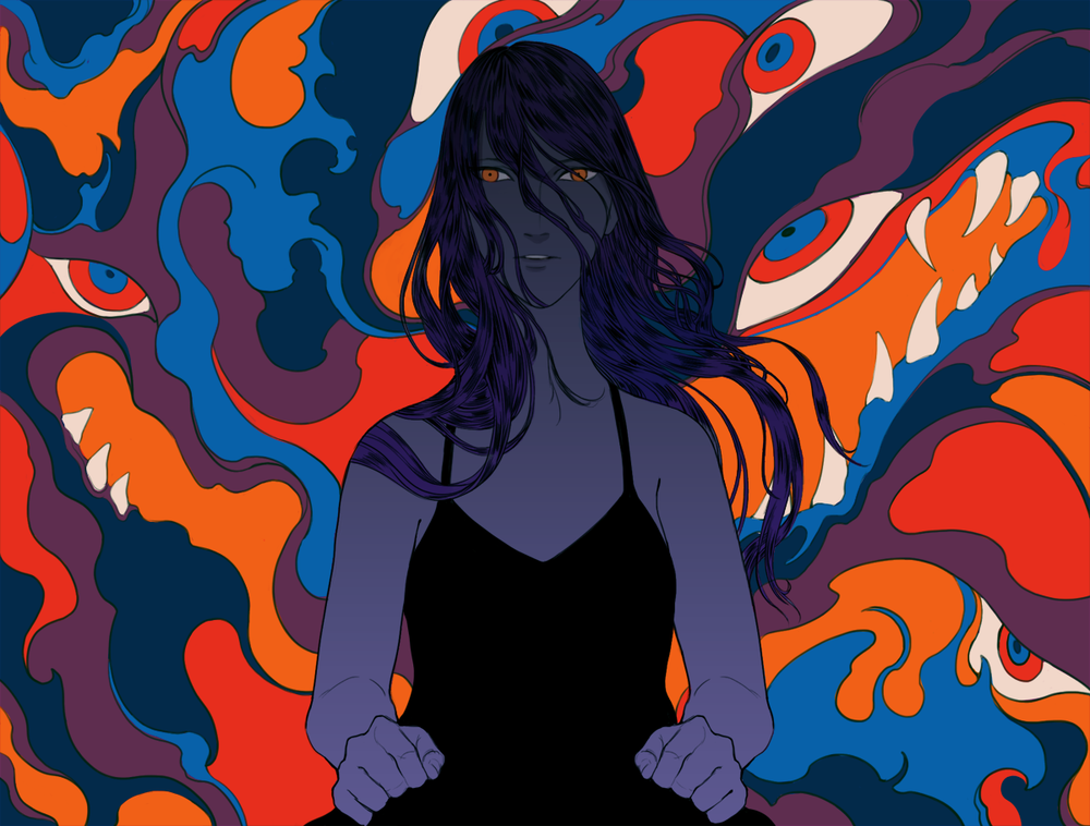 Editorial Illustration of a review of Samantha Hunt's debut novel,  The Seas.      Article link