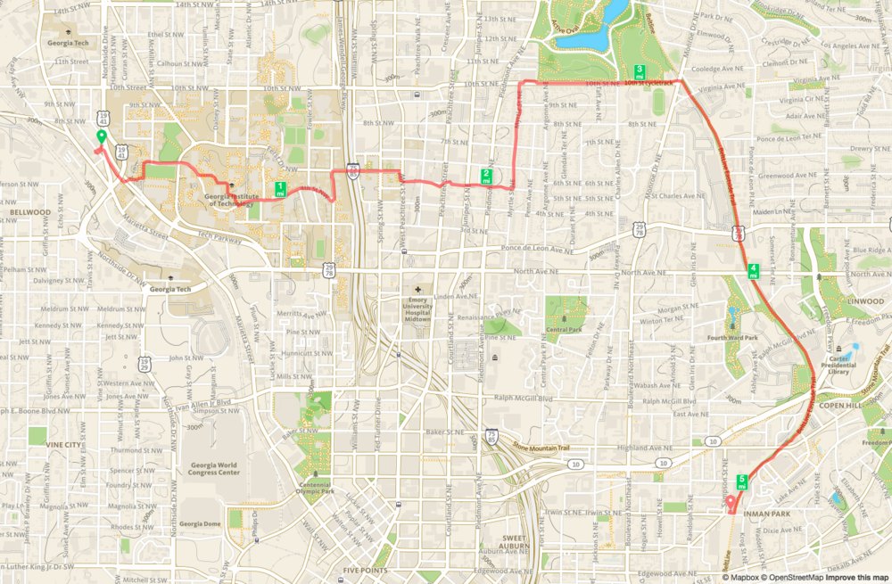 West Midtown to Irwin Street Map from Runkeeper