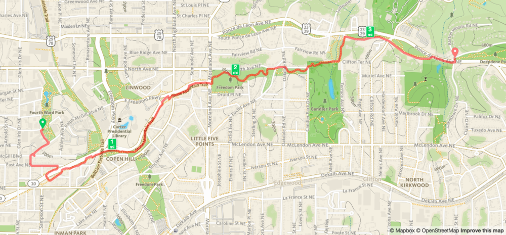 Biking from Historic Fourth Ward Park to Deepdene Park Map from Runkeeper