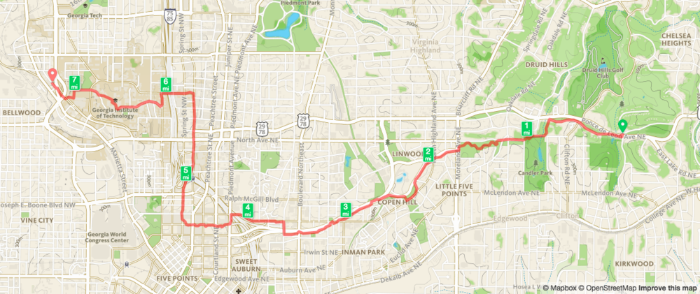 Biking from Deepdene Park to West Midtown Map from Runkeeper