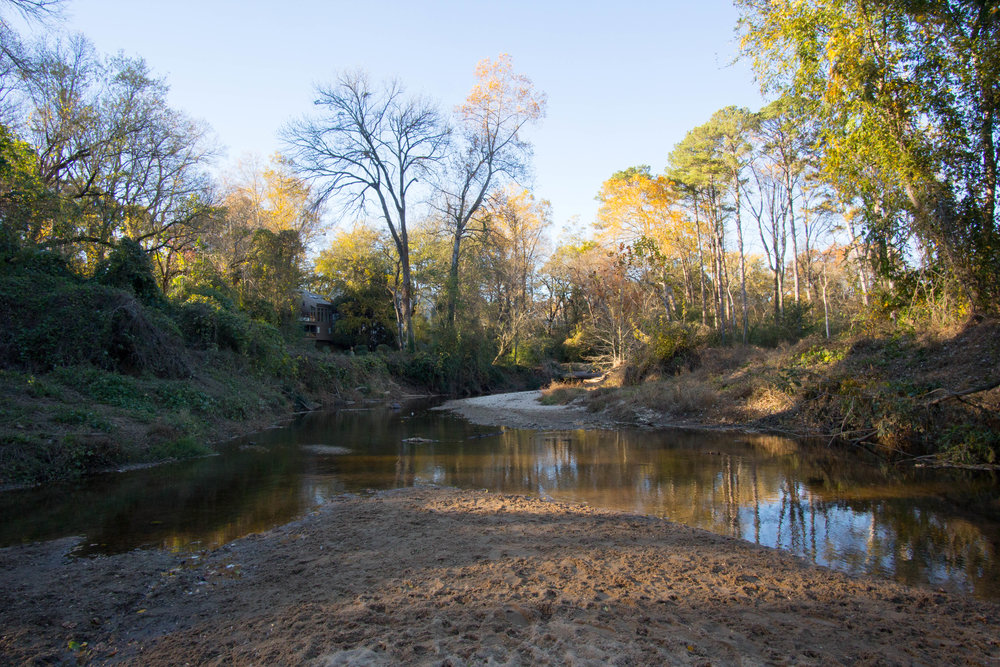 Confluence of Rock Creek & South Fork Peachtree Creek during drought, November 20, 2016
