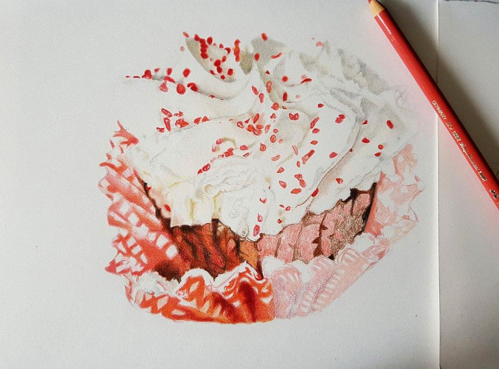 Red Velvet Cupcake - half done