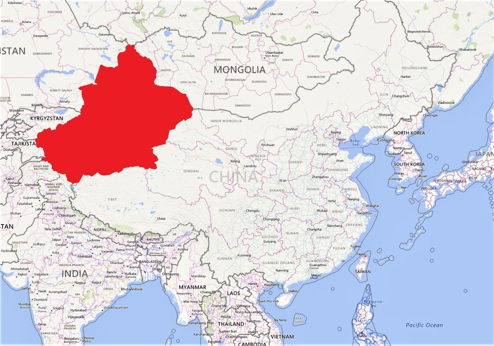 Map of China and surrounding areas with Xinjiang Province highlighted in red. Marcus Steiner/CGRE